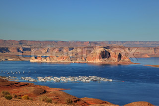 Port for white yachts on Lake Powell. Spectacular sunset