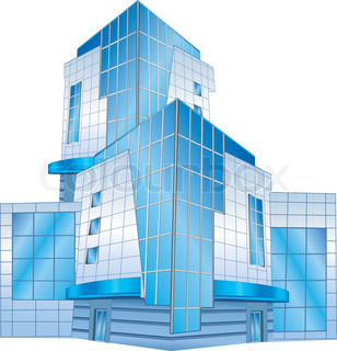 Conceptual image of office building, vector illustration
