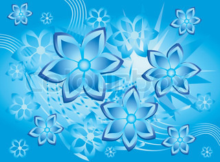 Beautiful pattern with bound lines and flowers in blue, illustration