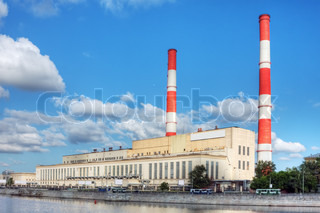 thermal power plant in Moscow on the waterfront