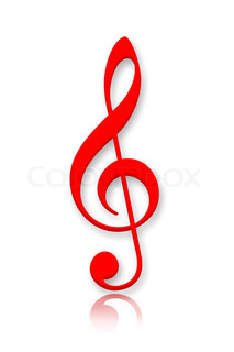 Treble clef musical symbol over white background