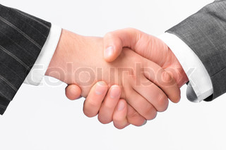 Closeup of a handshake between two business men