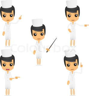 set of funny cartoon nurse in various poses for use in presentations, etc.