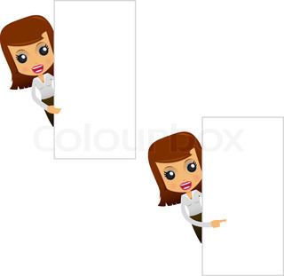set of funny cartoon businesswoman in various poses for use in presentations, etc.