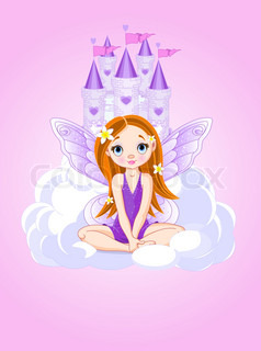 Illustration of cute violet kleine Fee a Fairy Tale Castle.