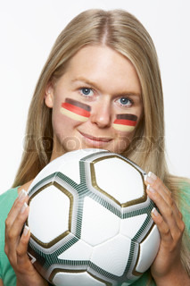 Young Female Sports Fan With German Flag Painted On Face