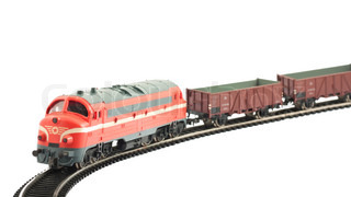 A miniature model of the train - electric locomotive and wagons