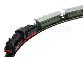 Toy steam locomotive and cars on white background