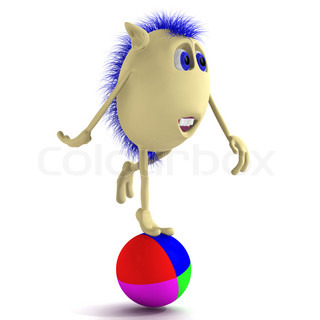 Blue haired 3D puppet balancing on colorful ball