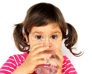 Little Curly Girl Drinking Pure Water Portrait