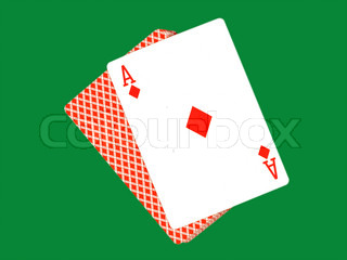 Ase of diamonds and play cards isolated on a green background.