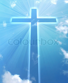 glowing cross on a sky, with radial rays of light