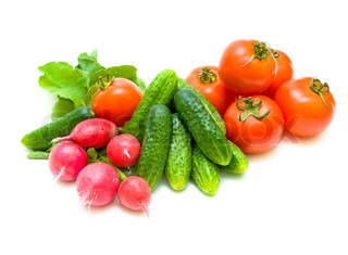still life of fresh vegetables on white background