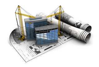 3d illustration of modern building construction concept
