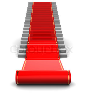 abstract 3d illustration of red carpet unwraping