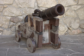 old cannon in the castle. Olesky. Ukraine