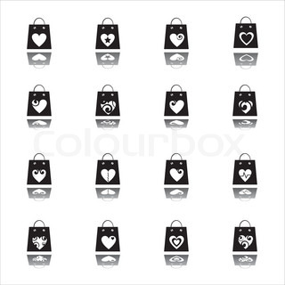 set of 16 valentine shopping bags icons
