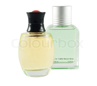two perfume bottle over white