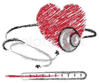 vector medical sketch of heart, stethoscope and thermometer