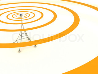 abstract 3d illustration of broadcasting antenna background