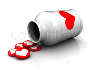 3d illustration of white medical bottle with love tablets