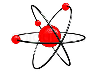 abstract 3d illustration of atom structure over white background