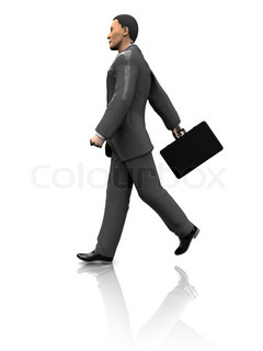 3d illustration of businessman walking, isolated over white background