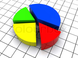 3d illustration of colorful pie chart, over grid background