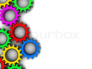 abstract 3d illustration of colorful gear wheels background