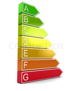 abstract 3d illustration of energy classification symbol over white background
