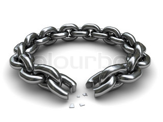 3d illustration of broken chain circle over white background