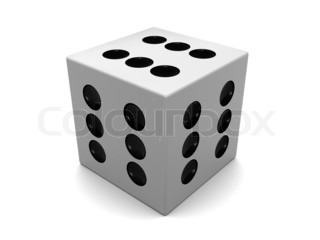 3d illustration of white dice with six on all sides