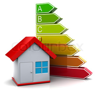 3d illustration of house with energy classification symbol, over white background