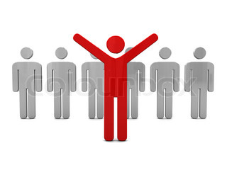abstract 3d illustration of man standing out from crowd, individuality concept