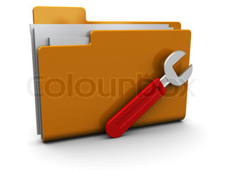 3d illustration of folder icon or symbol with wrench, over white background