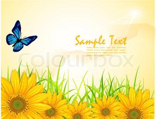 Vektor Hintergrund mit gelben Sonnenblumen, grünes Gras und Schmetterlinge