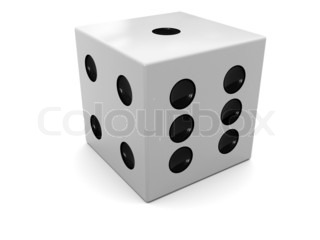 3d illustration of single dice over white background