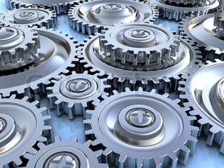 abstract 3d illustration of steel gear wheels background