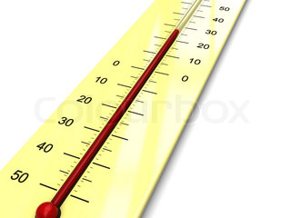 3d illustration of thermometer with warm temperature
