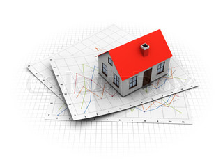 3d illustration of real estate market analyzing concept