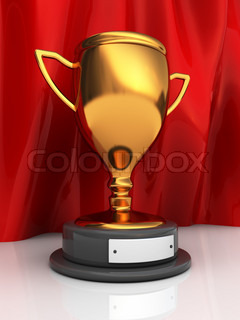 3d illustration of trophy cup over red curtains background