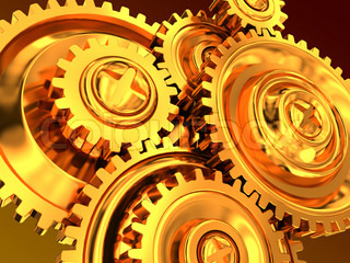 abstract 3d illustration of golden gear wheels background