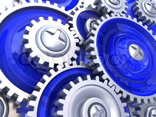 abstract 3d illustration of gear wheels background, blue colors