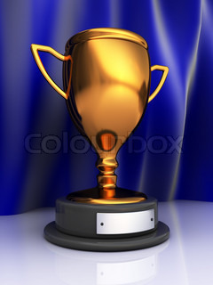 3d illustration of trophy cup over blue curtains background
