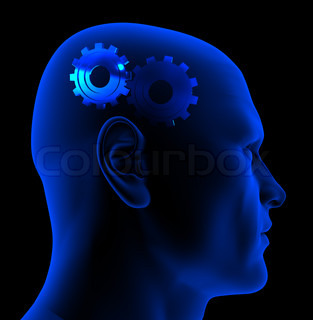 conceptual 3d illustration of head with gear wheels inside