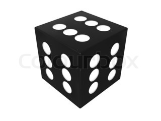 3d illustration of winning dice cube over white background
