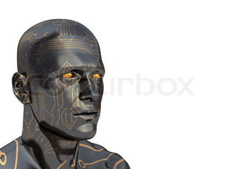 abstract 3d illustration of head with electronic circuit