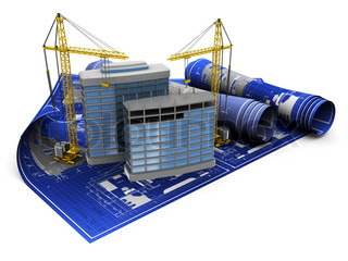 abstract 3d illustration of two cranes and building