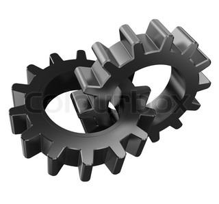 3d illustration of two gear wheels isolated over white