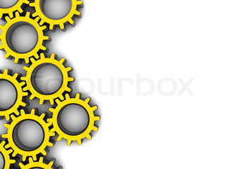 3d illustration of gear wheels at left side of white background